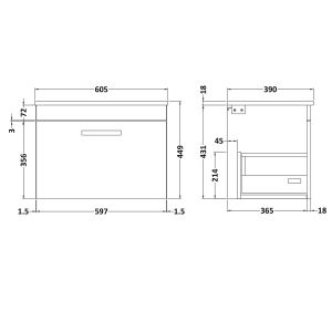 Nuie Athena Driftwood 1 Drawer Wall Hung Vanity Unit with 18mm Worktop 600mm Line Drawing