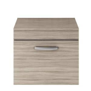 Nuie Athena Driftwood 1 Drawer Wall Hung Vanity Unit with 18mm Worktop 600mm