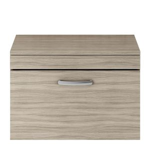Nuie Athena Driftwood 1 Drawer Wall Hung Vanity Unit with 18mm Worktop 800mm
