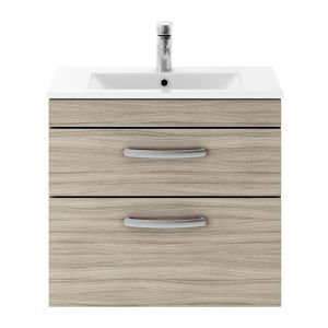 Nuie Athena Driftwood 2 Drawer Wall Hung Vanity Unit with 18mm Profile Basin 600mm