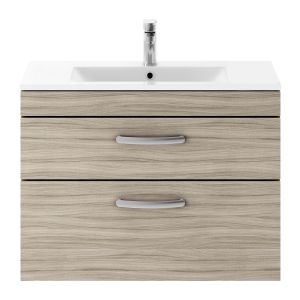 Nuie Athena Driftwood 2 Drawer Wall Hung Vanity Unit with 18mm Profile Basin 800mm