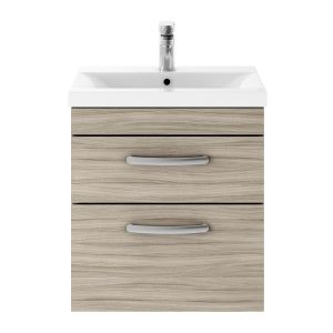 Nuie Athena Driftwood 2 Drawer Wall Hung Vanity Unit with 40mm Profile Basin 500mm