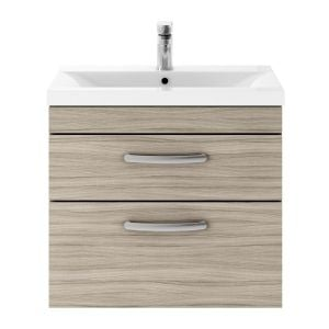 Nuie Athena Driftwood 2 Drawer Wall Hung Vanity Unit with 40mm Profile Basin 600mm