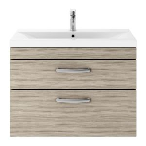 Nuie Athena Driftwood 2 Drawer Wall Hung Vanity Unit with 40mm Profile Basin 800mm