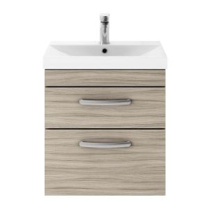 Nuie Athena Driftwood 2 Drawer Wall Hung Vanity Unit with 50mm Profile Basin 500mm