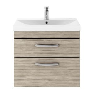 Nuie Athena Driftwood 2 Drawer Wall Hung Vanity Unit with 50mm Profile Basin 600mm