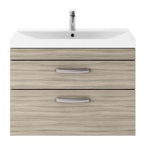 Nuie Athena Driftwood 2 Drawer Wall Hung Vanity Unit with 50mm Profile Basin 800mm