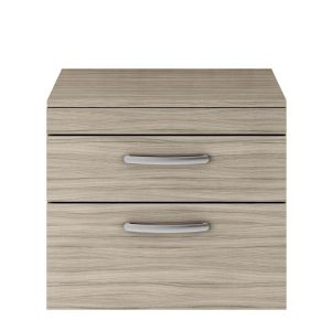 Nuie Athena Driftwood 2 Drawer Wall Hung Vanity Unit with 18mm Worktop 600mm