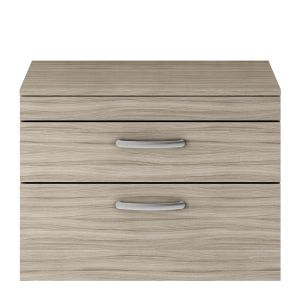 Nuie Athena Driftwood 2 Drawer Wall Hung Vanity Unit with 18mm Worktop 800mm