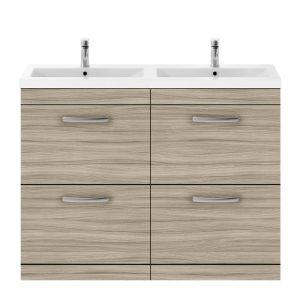 Nuie Athena Driftwood 4 Drawer Floor Standing Vanity Unit with Ceramic Double Basin 1200mm