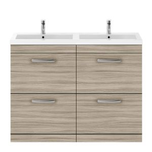 Nuie Athena Driftwood 4 Drawer Floor Standing Vanity Unit with Polymarble Double Basin 1200mm