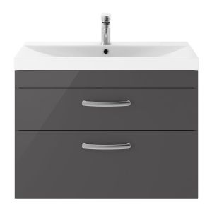 Nuie Athena Gloss Grey 2 Drawer Wall Hung Vanity Unit with 50mm Profile Basin 800mm