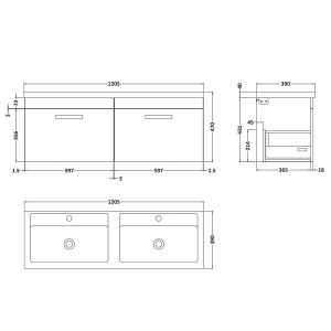 Nuie Athena Gloss Grey 2 Drawer Wall Hung Vanity Unit with Double Basin 1200mm Line Drawing