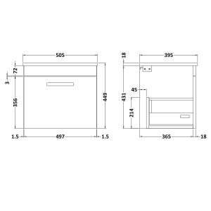 Nuie Athena Gloss Grey Mist 1 Drawer Wall Hung Vanity Unit with 18mm Profile Basin 500mm Line Drawing