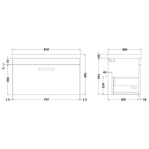 Nuie Athena Gloss Grey Mist 1 Drawer Wall Hung Vanity Unit with 50mm Profile Basin 800mm Line Drawing