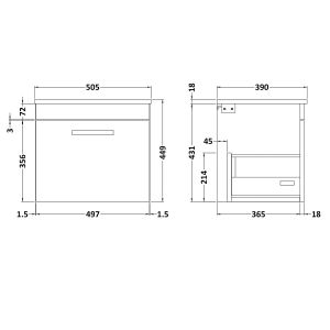 Nuie Athena Gloss Grey Mist 1 Drawer Wall Hung Vanity Unit with 18mm Worktop 500mm Line Drawing