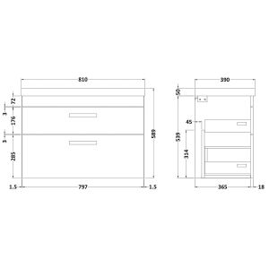 Nuie Athena Gloss Grey Mist 2 Drawer Wall Hung Vanity Unit with 50mm Profile Basin 800mm Line Drawing