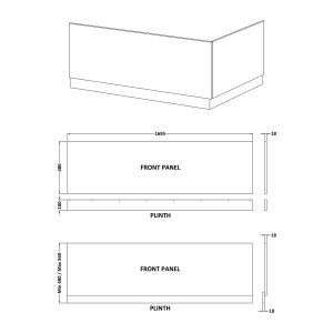 Nuie Athena Gloss Grey Mist Bath Front Panel 1700mm Line Drawing