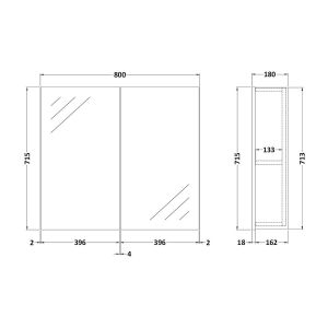 Nuie Athena Gloss Grey Mist Double Mirrored Bathroom Cabinet 800mm Line Drawing