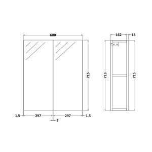 Nuie Athena Gloss Grey Mist Double Mirrored Bathroom Cabinet Line Drawing