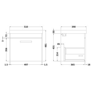 Nuie Athena Gloss White 1 Drawer Wall Hung Vanity Unit with 50mm Profile Basin 500mm Line Drawing