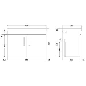 Nuie Athena Gloss White 2 Door Wall Hung Vanity Unit with 50mm Profile Basin 800mm Line Drawing