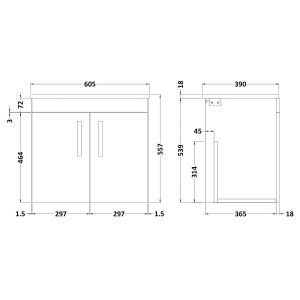 Nuie Athena Gloss White 2 Door Wall Hung Vanity Unit with 18mm Worktop 600mm Line Drawing