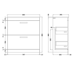 Nuie Athena Gloss Grey 2 Drawer Floor Standing Vanity Unit with 18mm Profile Basin 800mm Line Drawing