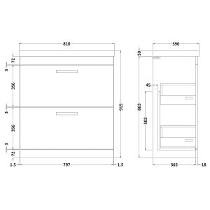 Nuie Athena Gloss Grey 2 Drawer Floor Standing Vanity Unit with 50mm Profile Basin 800mm Line Drawing