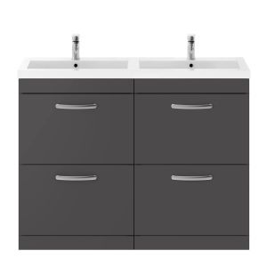 Nuie Athena Gloss Grey 4 Drawer Floor Standing Vanity Unit with Polymarble Double Basin 1200mm
