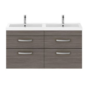 Nuie Athena Brown Grey Avola 4 Drawer Wall Hung Vanity Unit with Polymarble Double Basin 1200mm