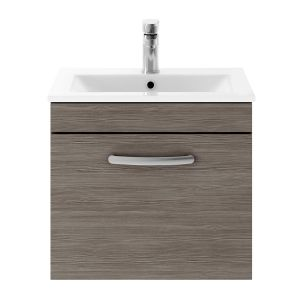 Nuie Athena Grey Avola 1 Drawer Wall Hung Vanity Unit with 18mm Profile Basin 500mm
