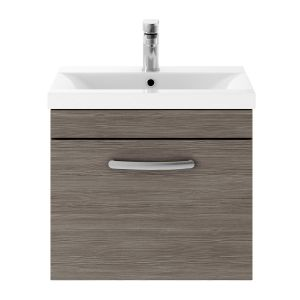 Nuie Athena Grey Avola 1 Drawer Wall Hung Vanity Unit with 40mm Profile Basin 500mm