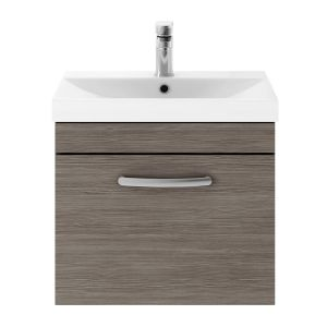 Nuie Athena Grey Avola 1 Drawer Wall Hung Vanity Unit with 50mm Profile Basin 500mm