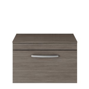 Nuie Athena Grey Avola 1 Drawer Wall Hung Vanity Unit with 18mm Worktop 500mm