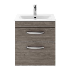 Nuie Athena Grey Avola 2 Drawer Wall Hung Vanity Unit with 18mm Profile Basin 500mm