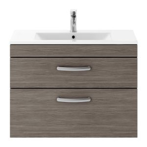 Nuie Athena Grey Avola 2 Drawer Wall Hung Vanity Unit with 18mm Profile Basin 800mm