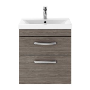 Nuie Athena Grey Avola 2 Drawer Wall Hung Vanity Unit with 40mm Profile Basin 500mm