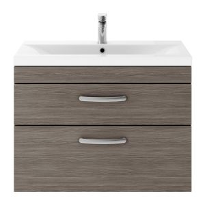 Nuie Athena Grey Avola 2 Drawer Wall Hung Vanity Unit with 40mm Profile Basin 800mm