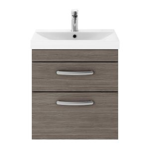 Nuie Athena Grey Avola 2 Drawer Wall Hung Vanity Unit with 50mm Profile Basin 500mm
