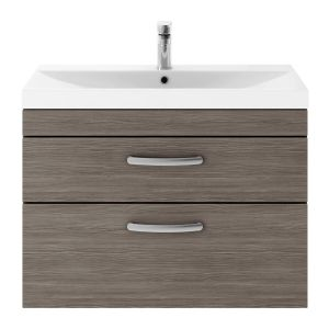 Nuie Athena Grey Avola 2 Drawer Wall Hung Vanity Unit with 50mm Profile Basin 800mm