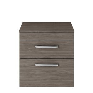 Nuie Athena Grey Avola 2 Drawer Wall Hung Vanity Unit with 18mm Worktop 500mm