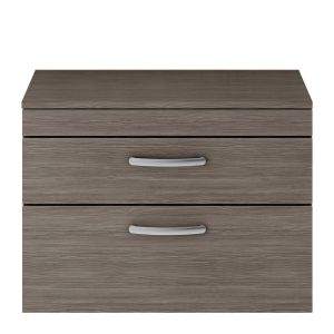 Nuie Athena Grey Avola 2 Drawer Wall Hung Vanity Unit with 18mm Worktop 800mm