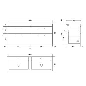Nuie Athena Brown Grey Avola 4 Drawer Wall Hung Vanity Unit with Double Basin 1200mm Line Drawing