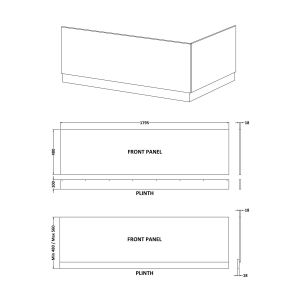 Nuie Athena Grey Avola Front Panel 1800mm Line Drawing