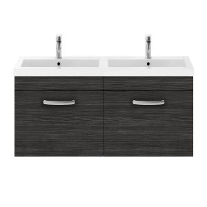 Nuie Athena Hacienda Black 2 Drawer Wall Hung Vanity Unit with Polymarble Double Basin 1200mm