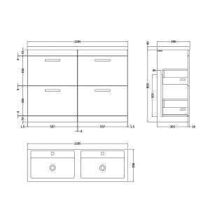 Nuie Athena Gloss Grey Mist 4 Drawer Floor Standing Vanity Unit with Double Basin 1200mm Line Drawing