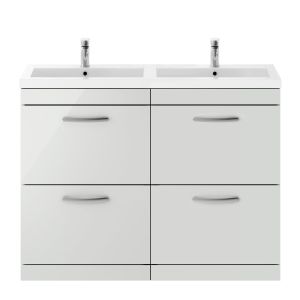 Nuie Athena Gloss Grey Mist 4 Drawer Floor Standing Vanity Unit with Polymarble Double Basin 1200mm