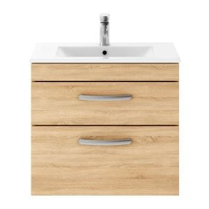 Nuie Athena Natural Oak 2 Drawer Wall Hung Vanity Unit with 18mm Profile Basin 600mm