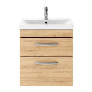 Nuie Athena Natural Oak 2 Drawer Wall Hung Vanity Unit with 40mm Profile Basin 500mm